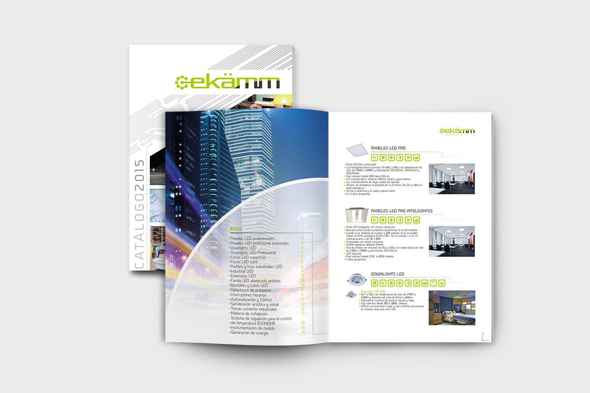 Diseño y maquetación de catálogo de Ekamm