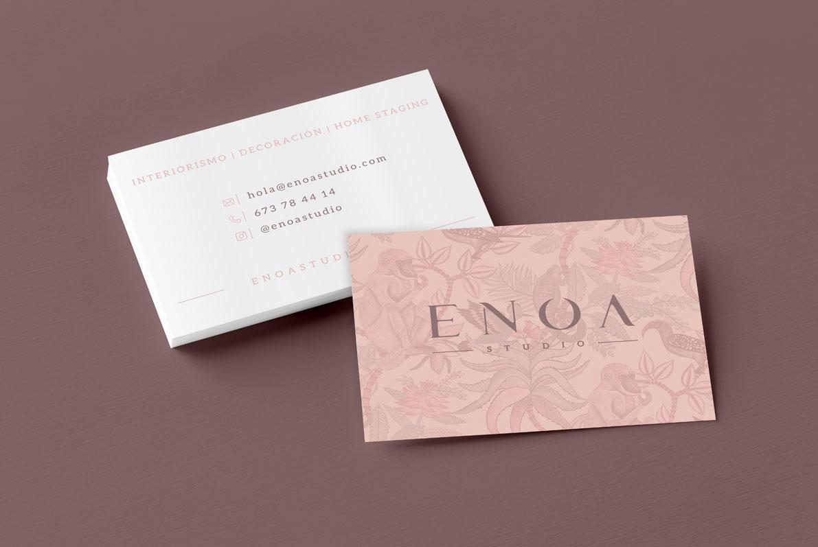 Diseño de tarjetas de visita para estudio de Interiorismo Enoa